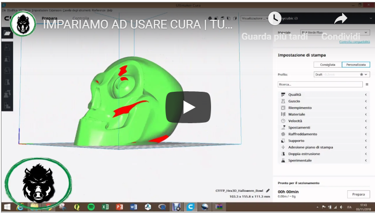 TUTORIAL Cura 2/2 – Impariamo ad usare Ultimaker Cura